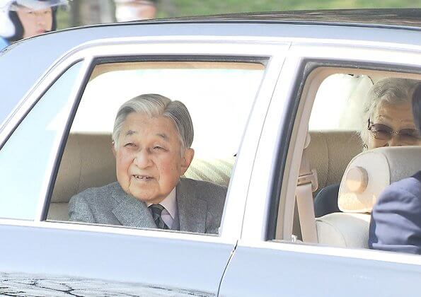 Emperor Akihito and Empress Michiko. Emperor Naruhito, Empress Masako and Princess Aiko arrived at Imperial Palace