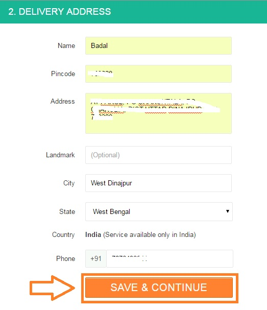 add a delivery address on flipkart online shopping