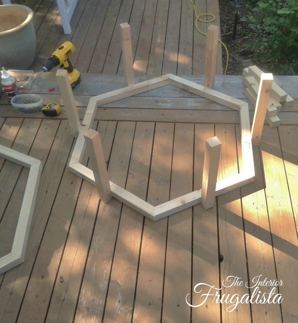 Building hexagon frames for Adirondack Fire Bowl Table