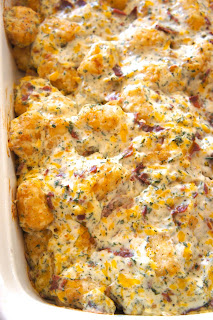Cheddar, Bacon Ranch Tater Tot Casserole: Savory Sweet and Satsifying