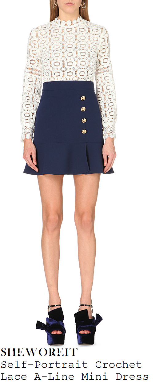 perrie-edwards-cream-navy-blue-crochet-lace-long-sleeve-high-neck-mini-dress-good-morning-britain