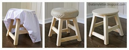 adding a slipcover to a kids stool