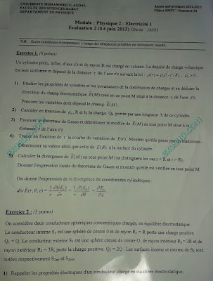 examens smpc s2 fsr Electricité 1,Algèbre 2,Analyse 2,Chimie en solution