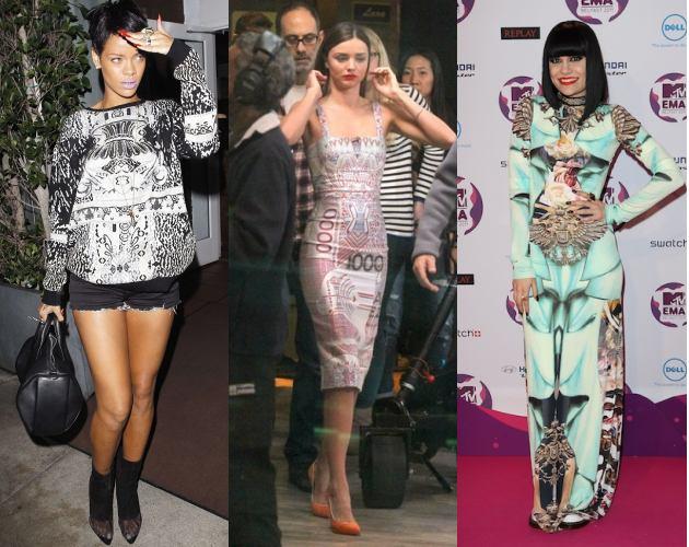 Celebs wearing Mary Katrantzou_JessieJ_Rihanna