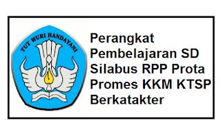 Perangkat Pembelajaran SD Silabus RPP Prota Promes KKM KTSP Berkatakter