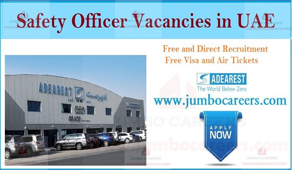 Job description of latest safety officer jobs in UAE, How to apply for safety officer jobs in UAE,