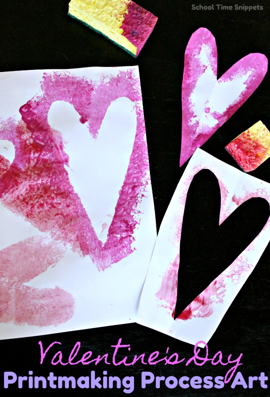 Heart Printmaking Process Art Activity