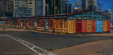 plein air oil painting of wharf at East Darling Harbour Wharves (Hungry Mile) now Barangaroo by industrial heritage artist Jane Bennett