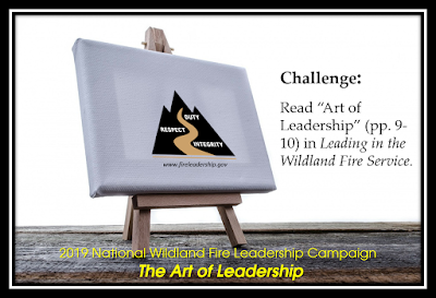 "easel and logo with challenge. (Read ""Art of Leadership"" (pp. 9-10) in ""Leading in the Wildland Fire Service"""