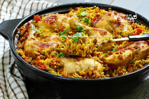 أرز بالدجاج والبسلة