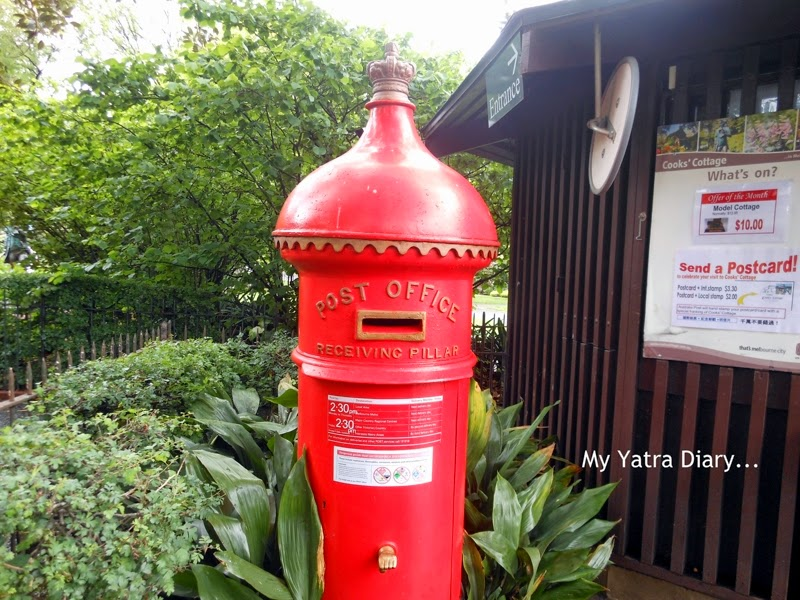 Postbox near the Captain cooks cottage, Fitzroy Gardens, Melbourne Australia