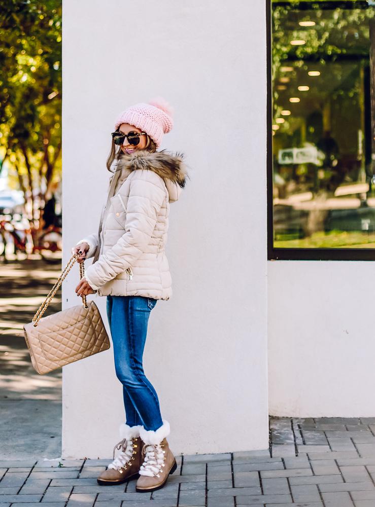 h&m cream padded jacket