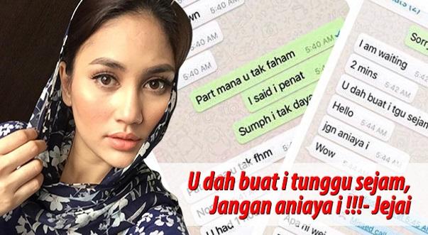 Fasha Sandha Dedah Perbualan Whatsapp Dengan Jejai, Paksa Jumpa Jam 5 Pagi