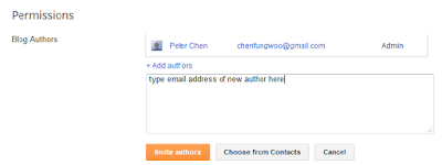 Blogger permissions section to add blog author