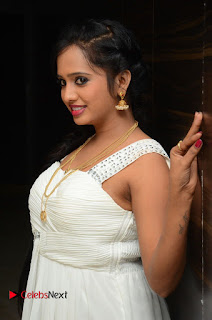 Actress Nakshatra Pictures in White Long Dress at Rojulu Marayi Movie Audio Release Function  0006