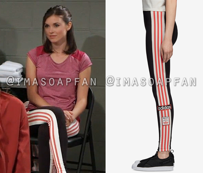 Willow Tait, Katelyn MacMullen, Black White and Pink Striped Leggings, General Hospital, GH