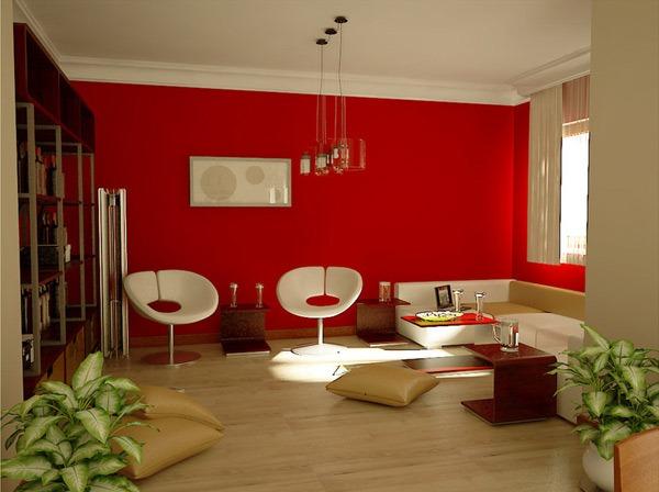 Penggunaan Warna Merah Di Ruang Tamu Minimalis Rancangan Desain