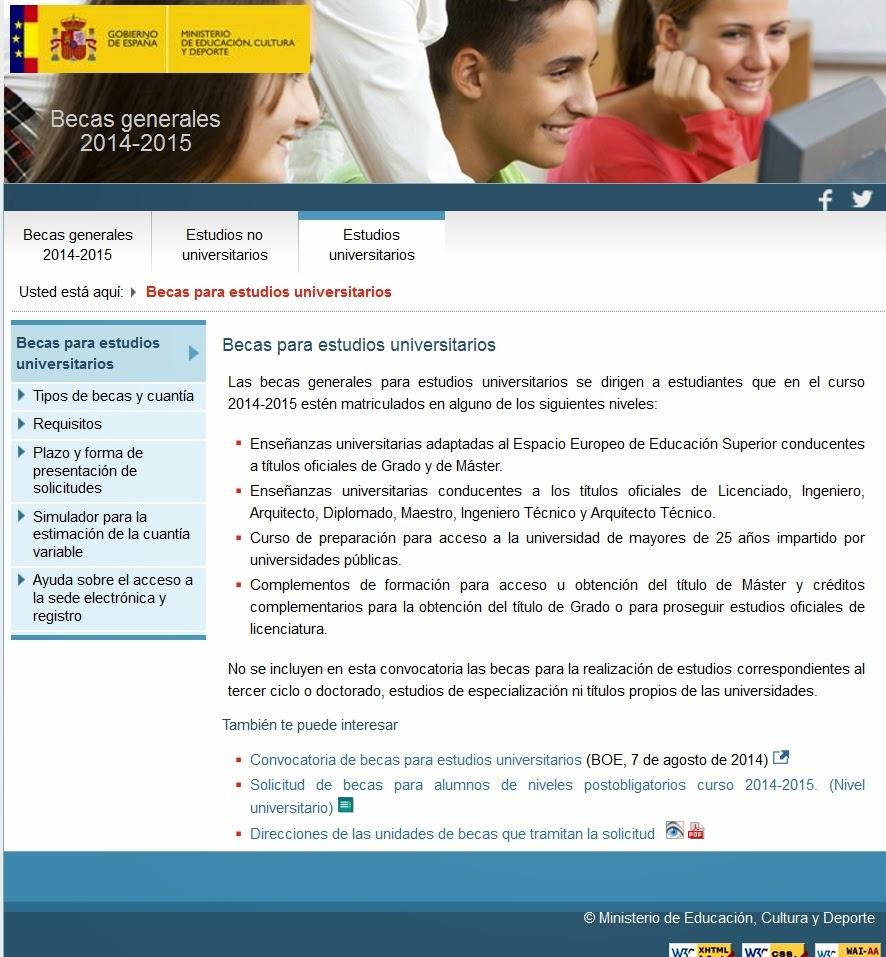 Becas Generales. Universitarios y Curso de Acceso. Ministerio de Educación.