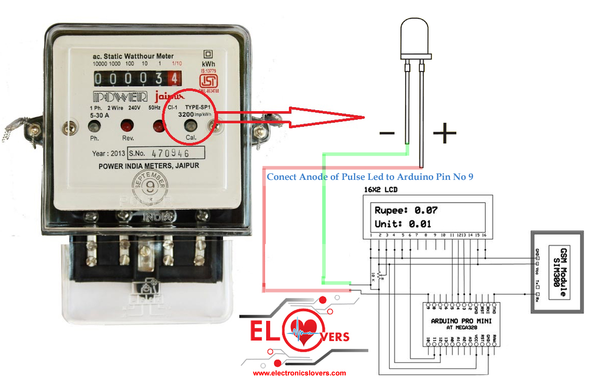 Bypass New Electrical Digital Meters : Check electricity meter reading wirelesly using arduino
