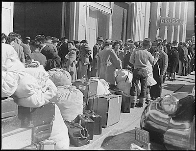 117,000 Japanese-Americans sent to relocation centers in 1942.  Japanese-American were given a few days notice to report for internment. Photo: National Archives