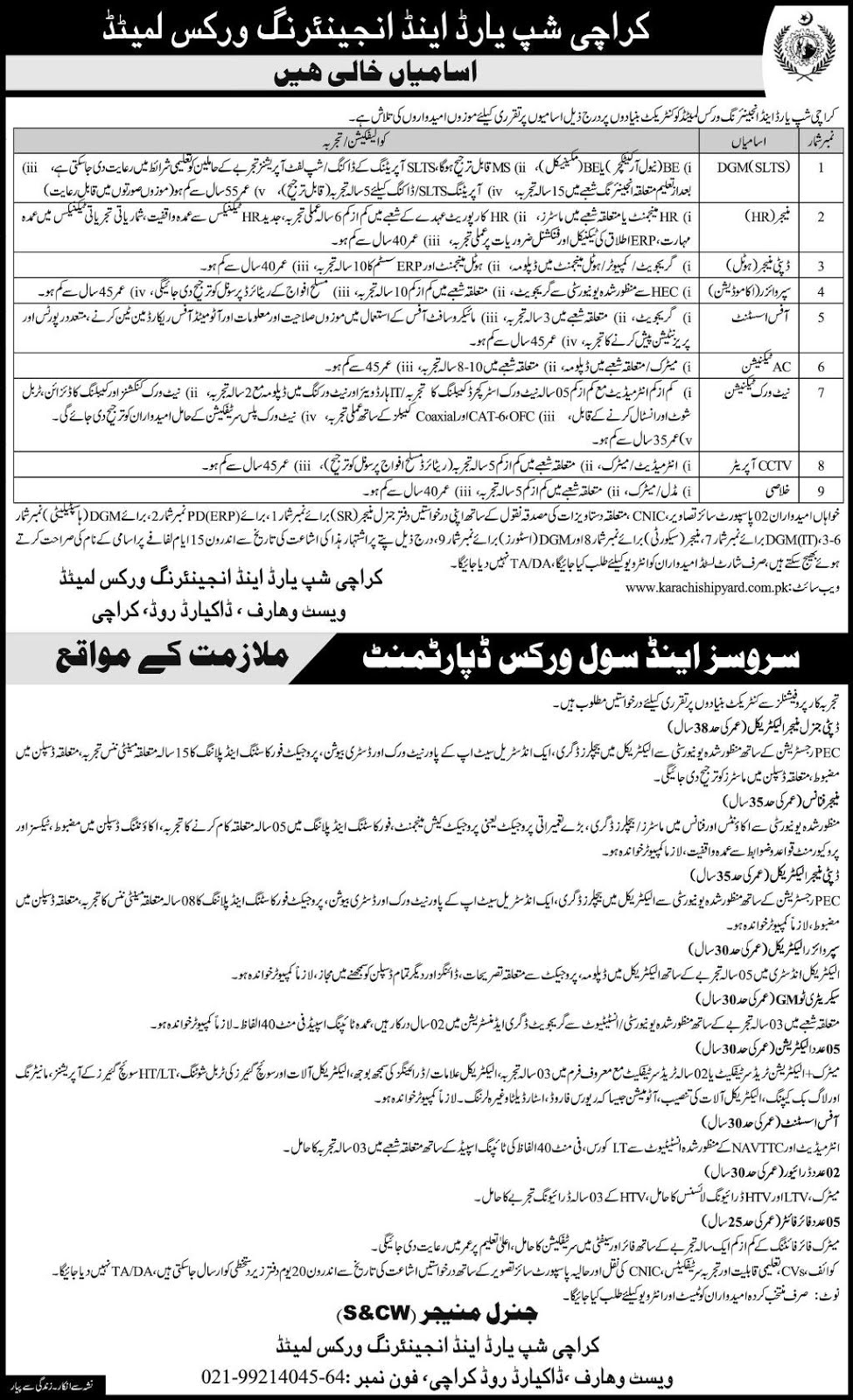 Karachi Shipyard And Engineering Works Jobs July 2019