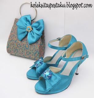 Sepatu Pesta Mewah Biru Tosca Elegant