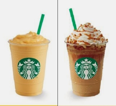 Starbucks Banana Mango Frappuccino® and Caramel Ribbon Crunch Frappuccino®