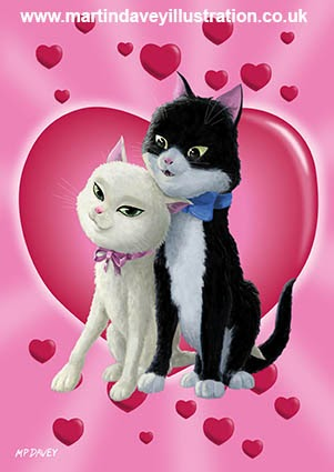 Romantic Cartoon cats on Valentine Heart digital painting