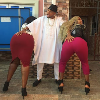 Hmmn! Check Out Photos Of Charles Okocha Grabbing Two Popular Actresses' Butts