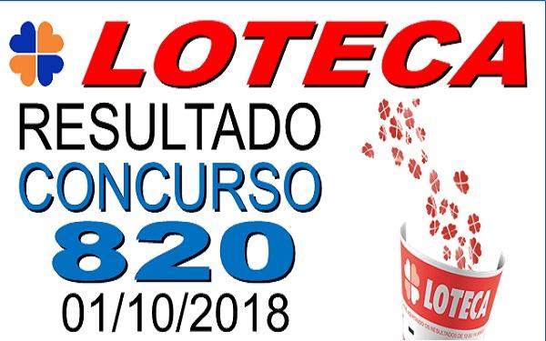 Resultado da Loteca concurso 820 de 01/10/2018 (Imagem: Informe Notícias)
