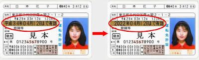 Amostras de carteiras de habilitação japonesas, com a do lado direito mostrando a validade em calendário gregoriano