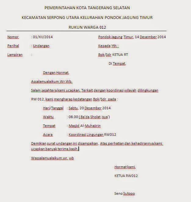 Contoh Surat Undangan Rt Untuk Warga Suratmenyurat Net