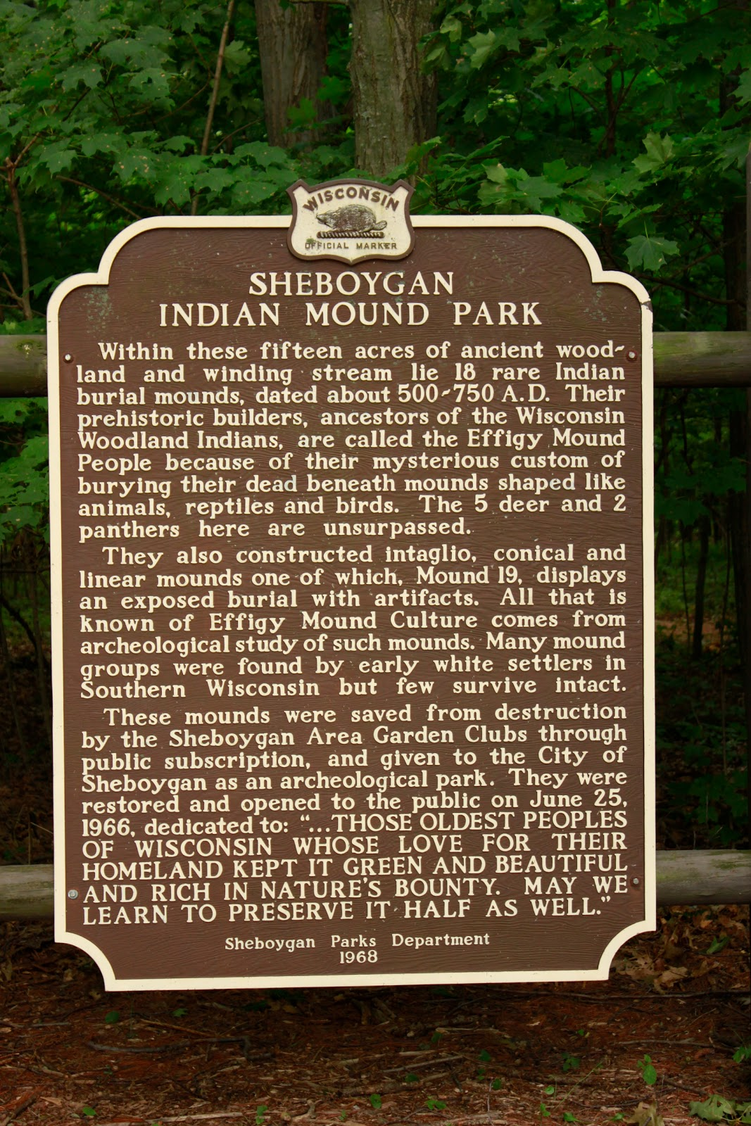 Wisconsin Historical Markers: Marker 163: Sheboygan Indian