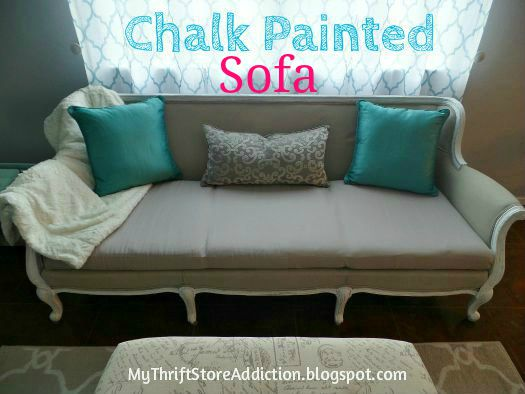 Chalk painted sofa reveal