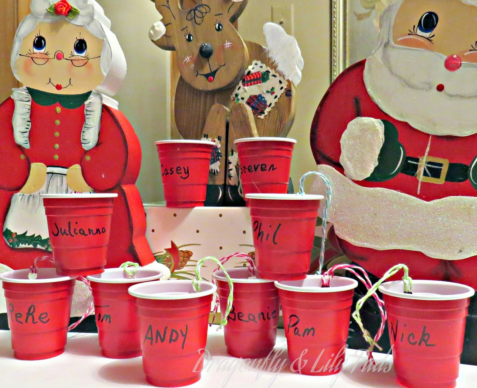 Red Solo Cups Ornaments, Reindeer, Santa Claus, Mrs Claus, Gift Box