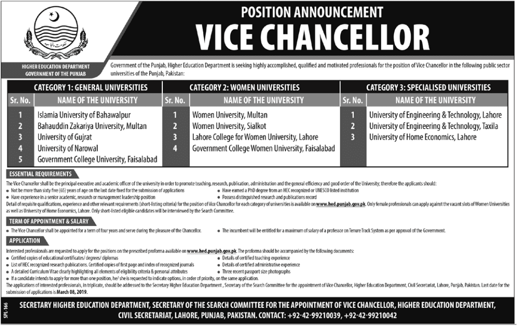 Advertisement for the Higher Education Department Jobs