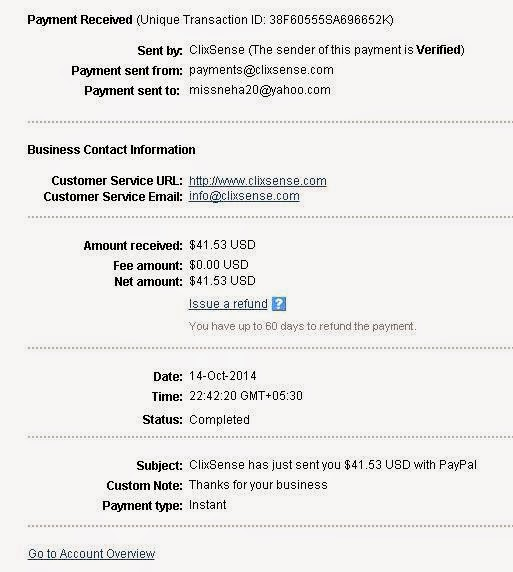 Got Another Payment from Clixsense | October 2014 Latest