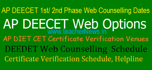 AP DEECET 2018 1st/2nd Phase Web Counselling Dates/Schedule, Certificate Verification Venues