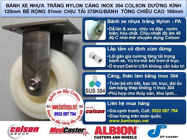 Bánh xe đẩy kho lạnh càng inox 304 chịu nhiệt độ âm Colson www.banhxepu.net