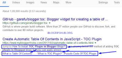 Blogger ToC Plugin Benefits in SERPs