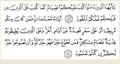 QS. al-Baqarah Ayat 183-184