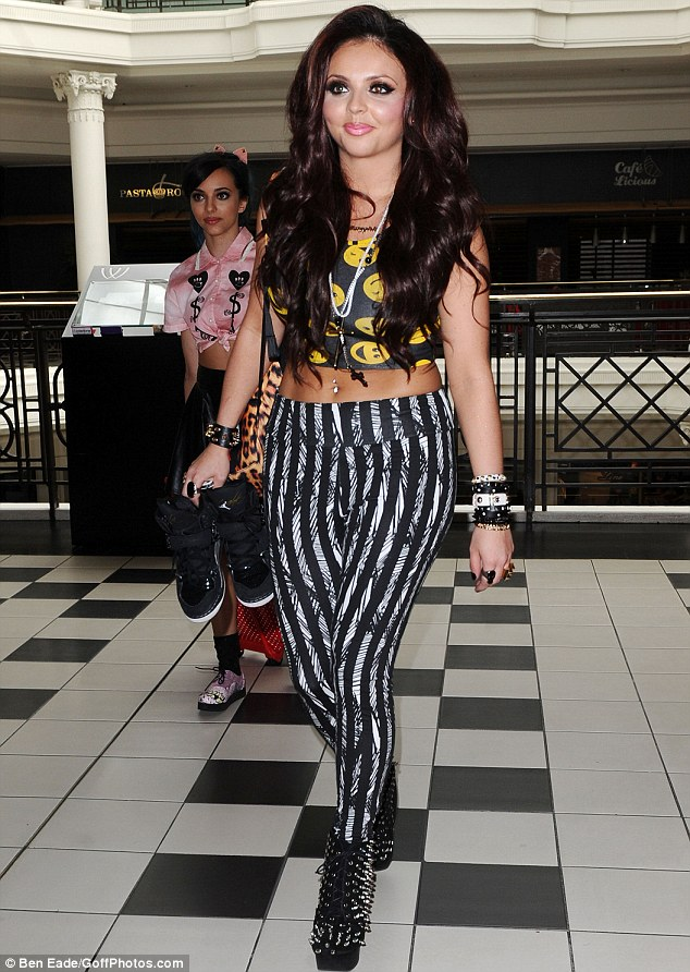 Black, Contrast, Crop Top, Jesy Nelson, Leggings, Little Mix, Missguided, Monochrome, Print, River Island, Scribble Print, Sleeveless, Smile Print, Striped, Yellow