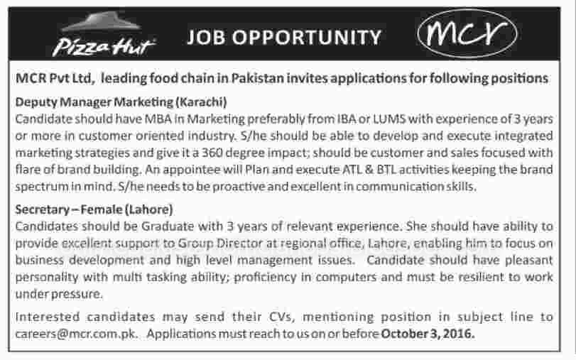 Manager & Secretary Jobs in MCR Pvt Limited Lahore