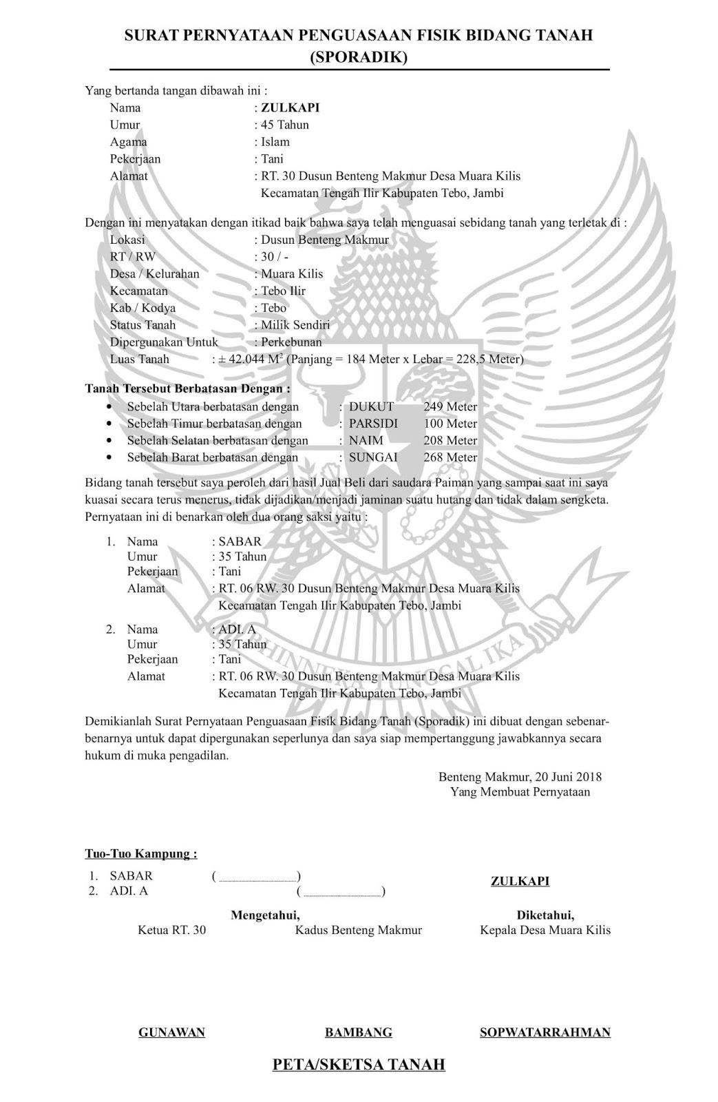 Contoh Surat Pernyataan Penguasaan Fisik Bidang Tanah Sporadik Doc Word