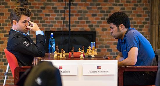 Défaite surprise en 17 coups du champion du monde en titre, Magnus Carlsen - Photo © Lennart Ootes