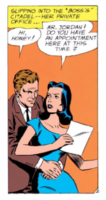 Showcase (1956) #22 Page 17 Panel 1: Hal Jordan ignores Carol's professional boundaries and hits on her in her office.
