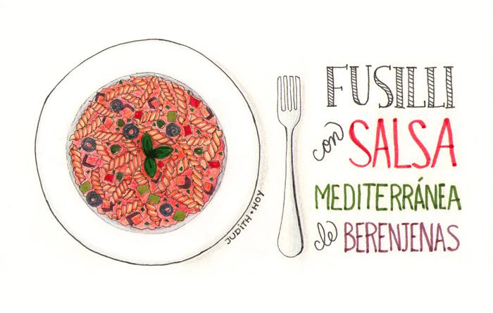fusilli con salsa mediterránea de berenjenas