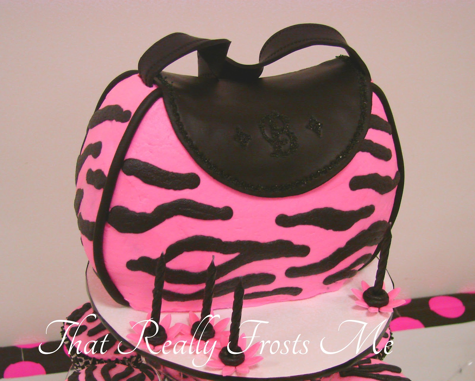 Pink Zebra Print Purse Cake
