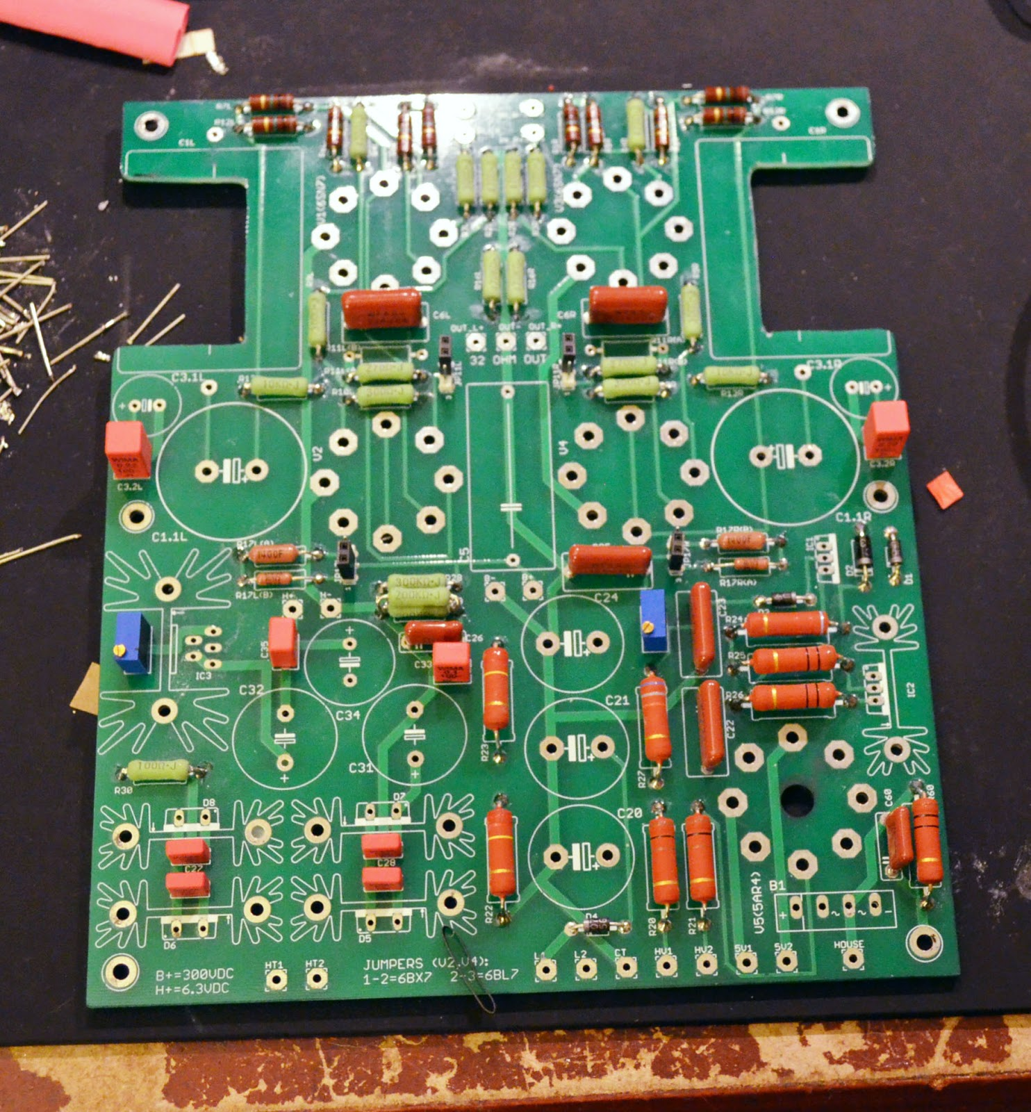 diy audio electronics from zynsonix com octal otl diy tubepcb populated with the smaller components