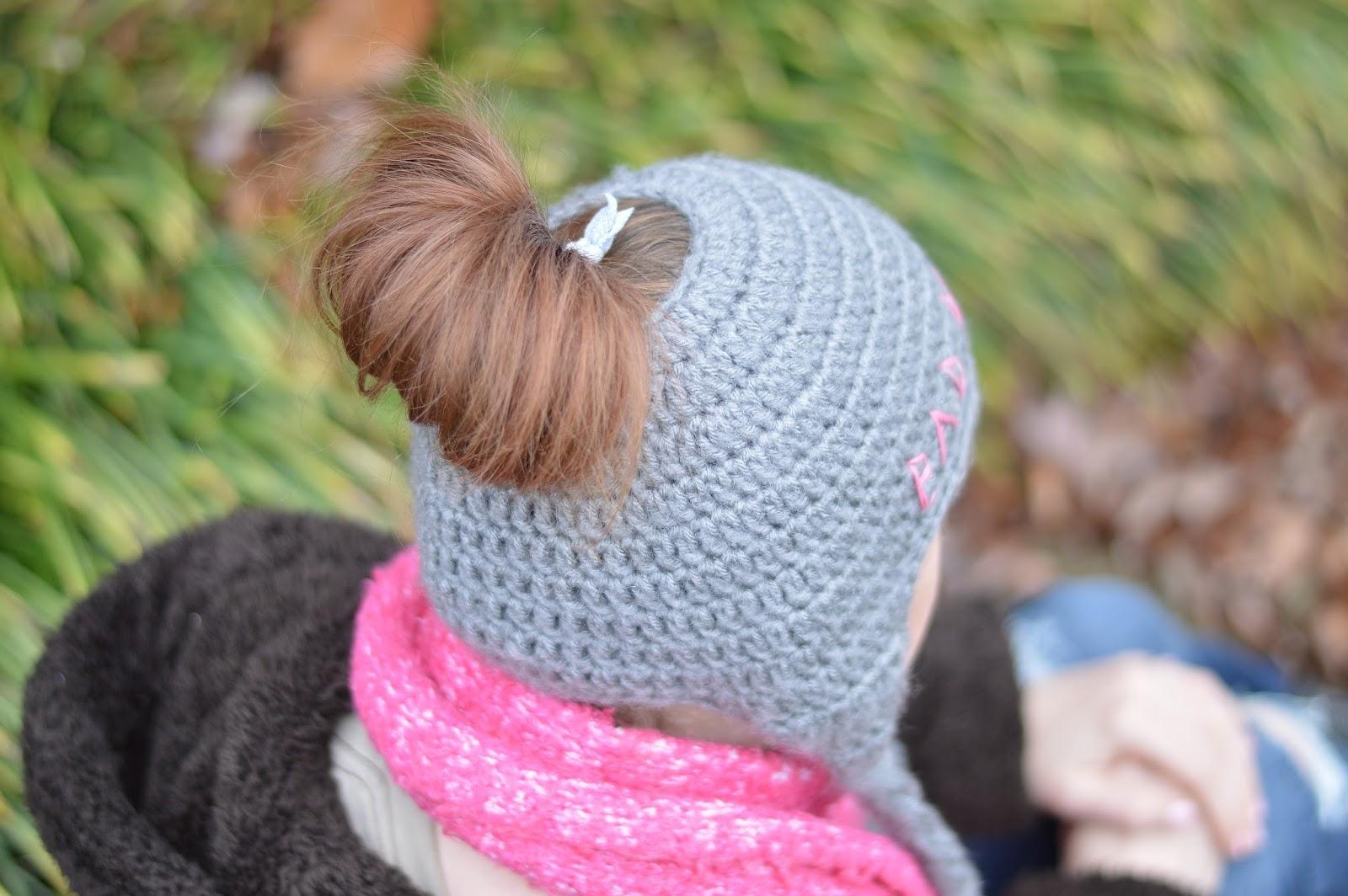Messy Bun Ear Flap Hat Free Crocheton Measuring Hat Size Ch